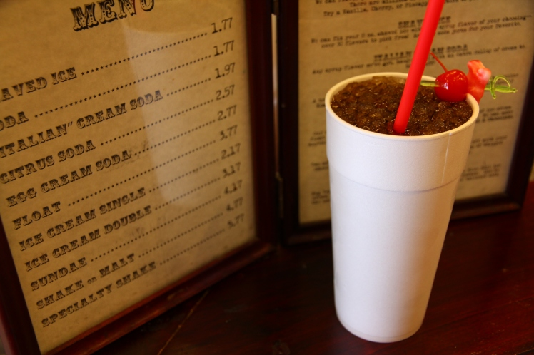 Dr. Pepper soda made at a soda fountain, old skool