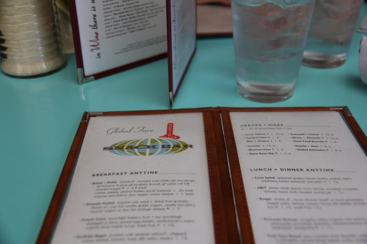 Snack Bar menu - so chic!