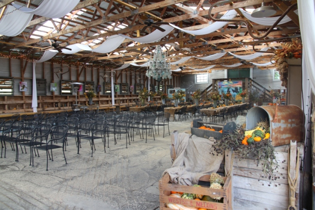 The building where weddings are done! I mean it's stunning. When weddings aren't being held Sinklad Farms have vendors and local artisans in here.